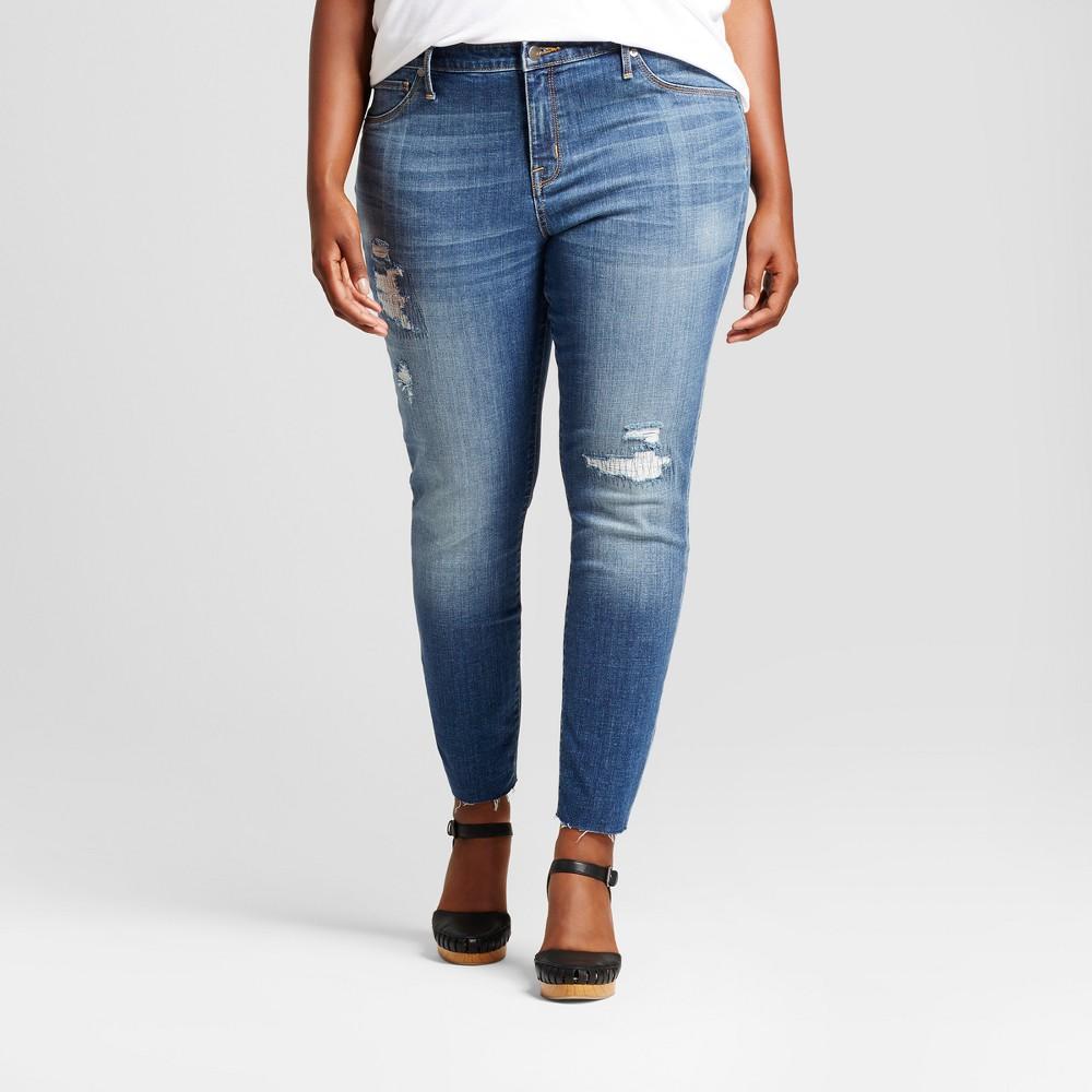 Womens Plus Size Rip and Repair Jeggings - Ava & Viv Medium Wash 18W, Blue