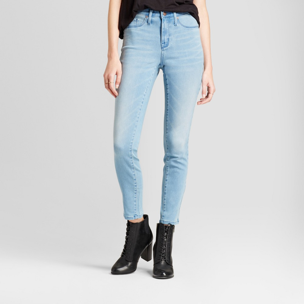 Womens Jeans High Rise Skinny - Mossimo Light Wash 2 Long, Blue