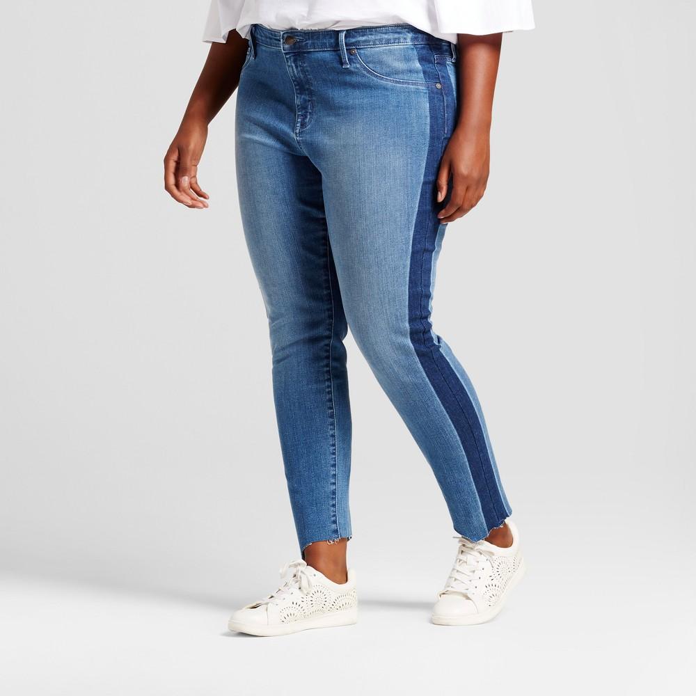 Womens Plus Size Jeggings with Tuxedo Stripe - Ava & Viv Medium Denim Wash 24W, Blue