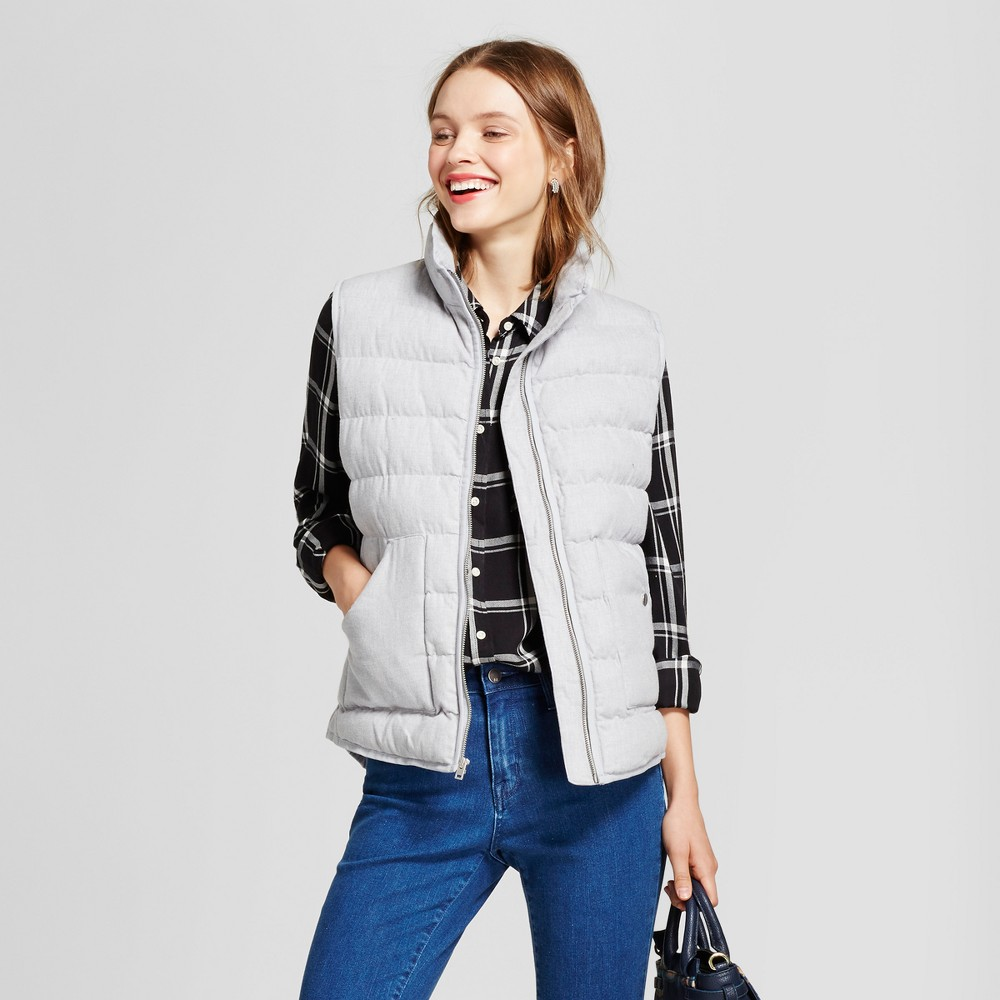 Womens Heathered Quilted Puffer Vest - A New Day Gray L