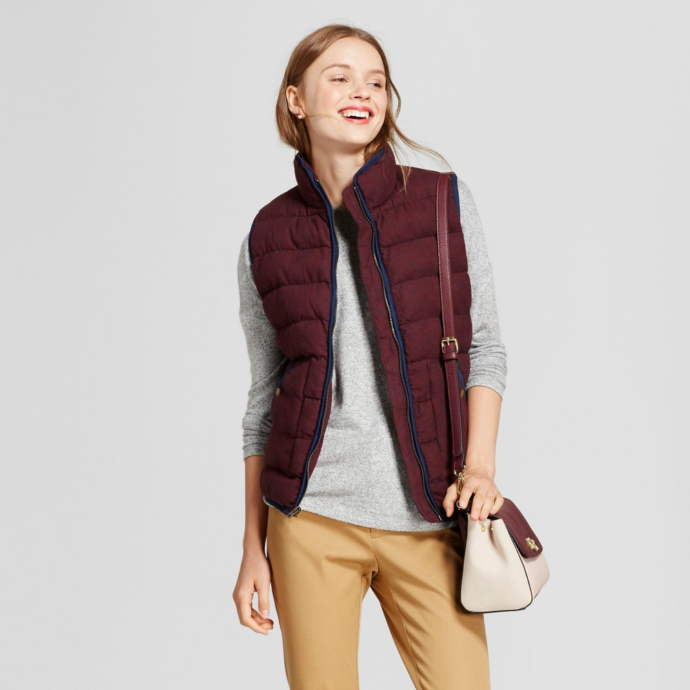 Womens Quilted Houndstooth Puffer Vest - A New Day Burgundy M, Blue