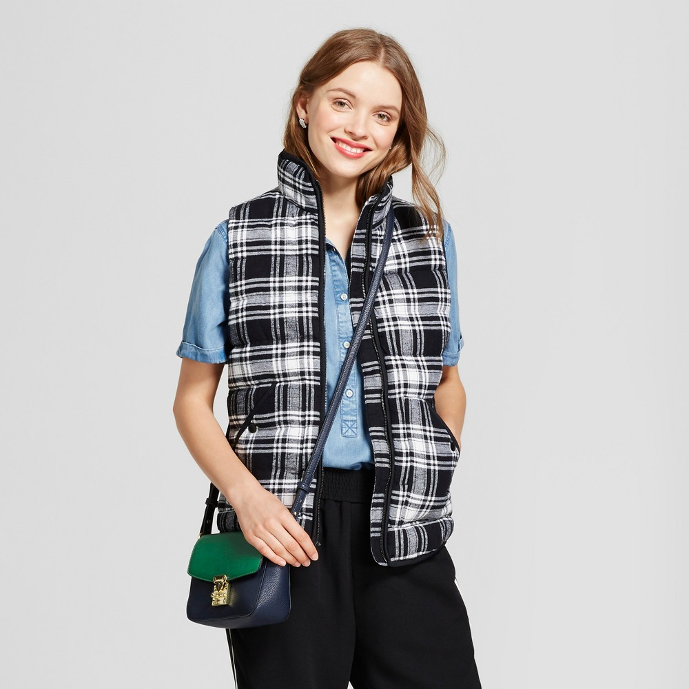 Womens Quilted Plaid Puffer Vest - A New Day Black XL