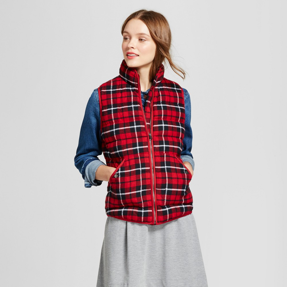 Womens Quilted Plaid Puffer Vest - A New Day Red Xxl