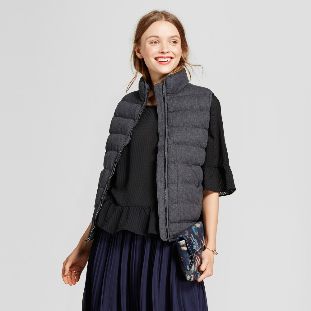 Womens Heathered Quilted Puffer Vest - A New Day Black XS