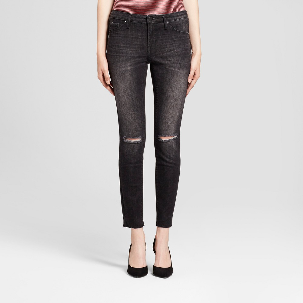 Women's Jeans Mid Rise Knee Slits Released Hem Jeggings - Mossimo Black 2 Short
