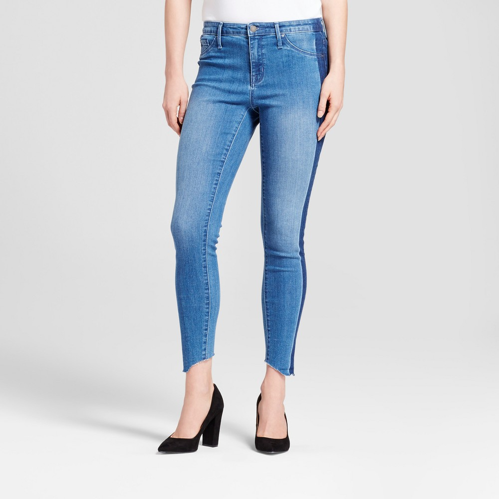 Womens Jeans High Rise Uneven Raw Hem Jeggings - Mossimo Medium Wash 0 Short, Blue