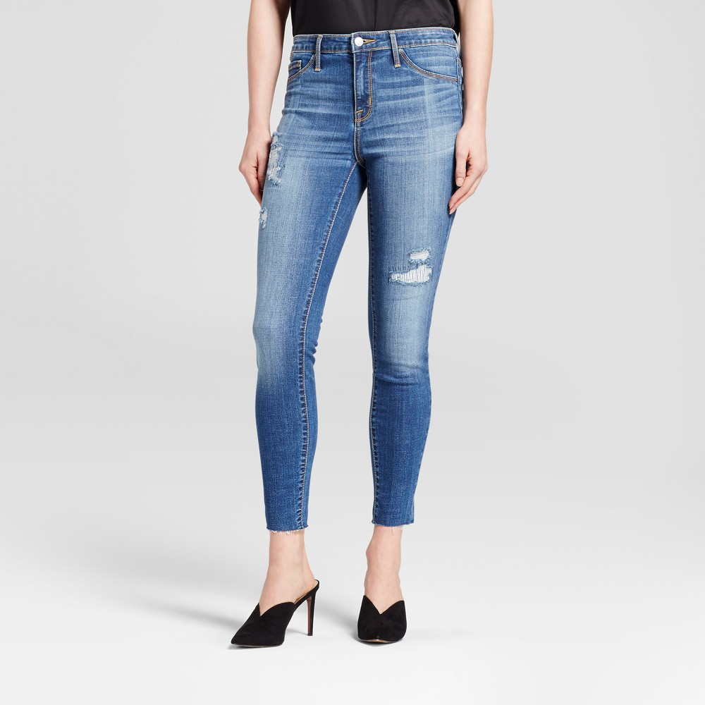 Womens Jeans High Rise Raw Hem Jeggings - Mossimo Medium Wash 8 Long, Blue