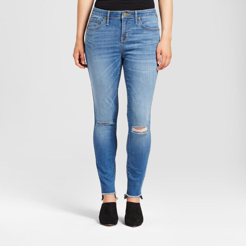 Womens Jeans Curvy Skinny Knee Slits Uneven Raw Hem - Mossimo Light Wash 18 Long, Blue