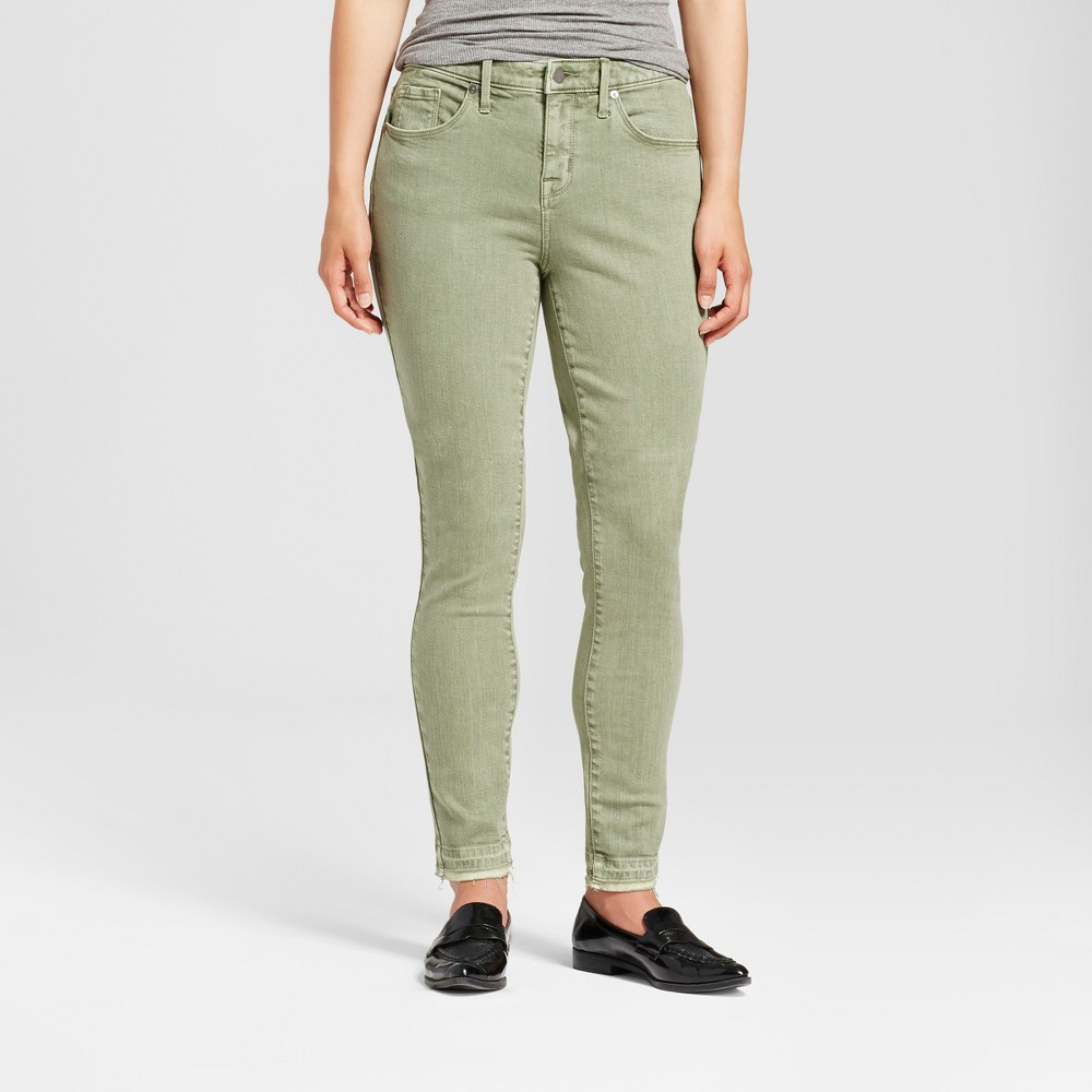 Womens Jeans Curvy Skinny Released Hem - Mossimo Olive Green 8 Short