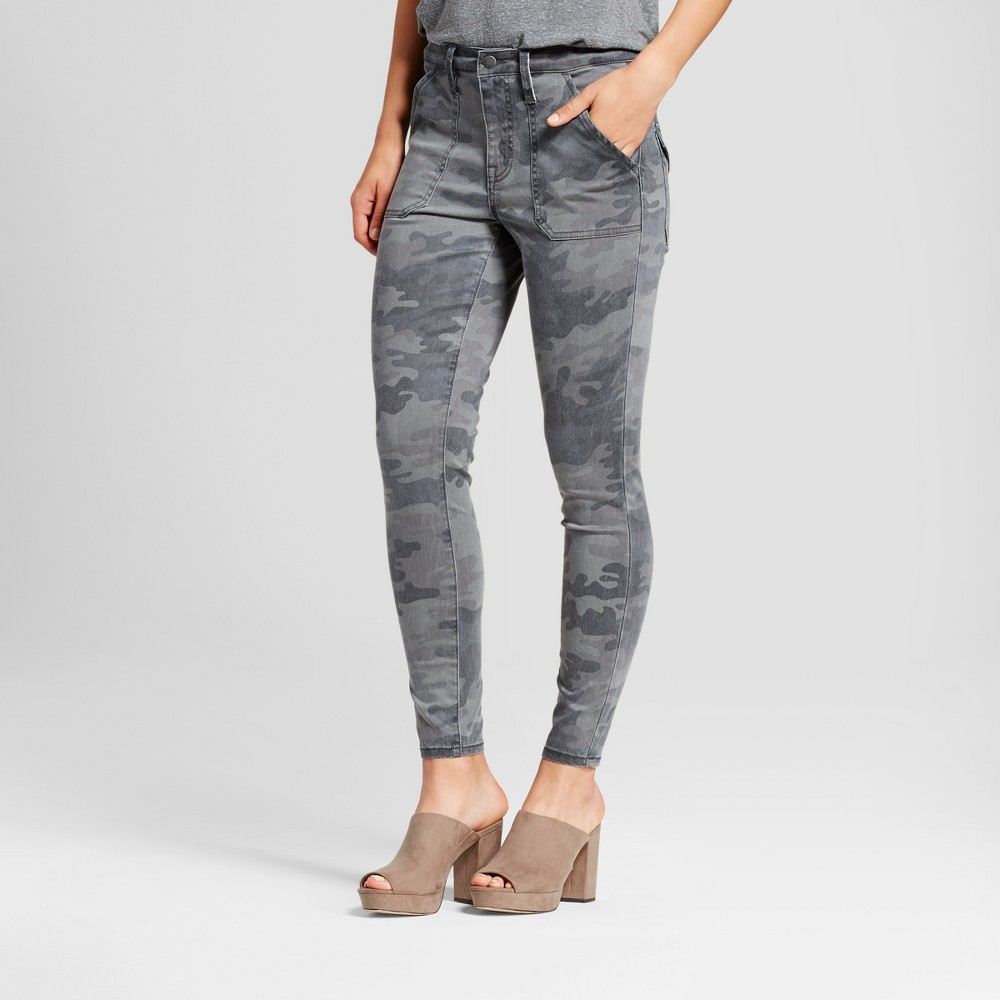 Womens Jeans Utility Jeggings - Mossimo Camo Gray 10