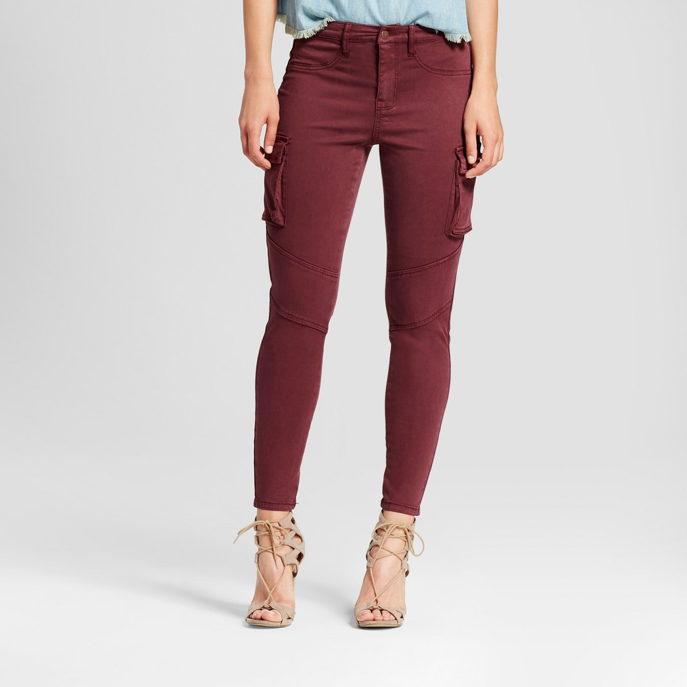 Womens Jeans Utility Jeggings Cargo Pocket - Mossimo Wine 6R, Size: 6, Red
