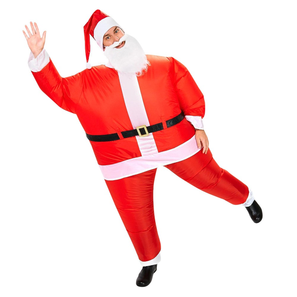 Santa Inflatable Adult Costume One Size Fits Most, Mens, Red