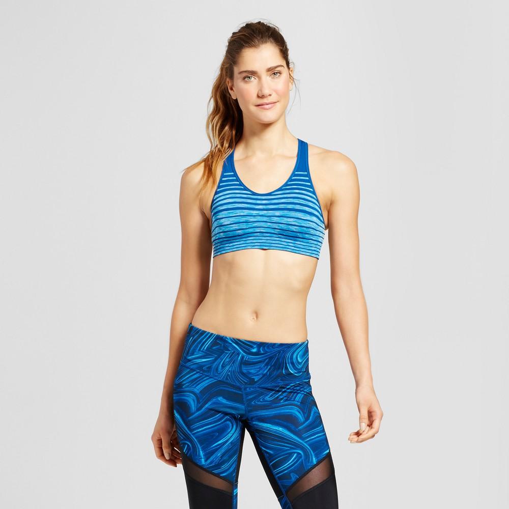 Women's Medium Support Seamless Striped Racerback Sports Bra - C9 Champion - Teal (Blue) XL