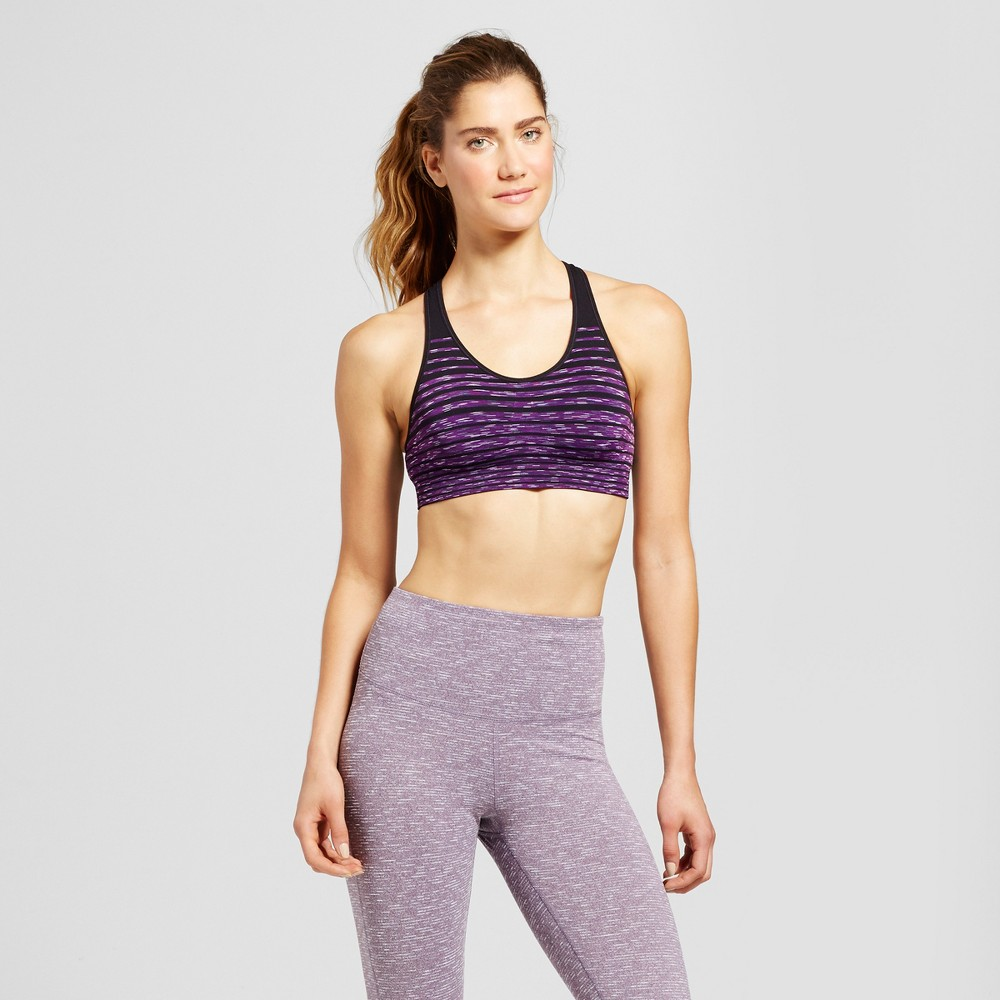 Womens Medium Support Seamless Striped Racerback Sports Bra - C9 Champion - Grape Splash S