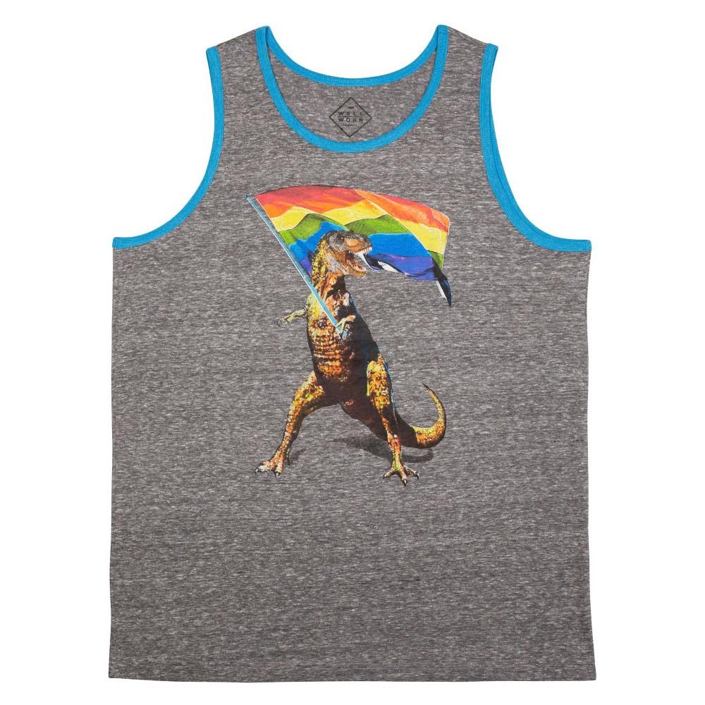 Pride Adult Big & Tall T-Rex Tank Top - Charcoal Heather 4XL, Mens, Gray