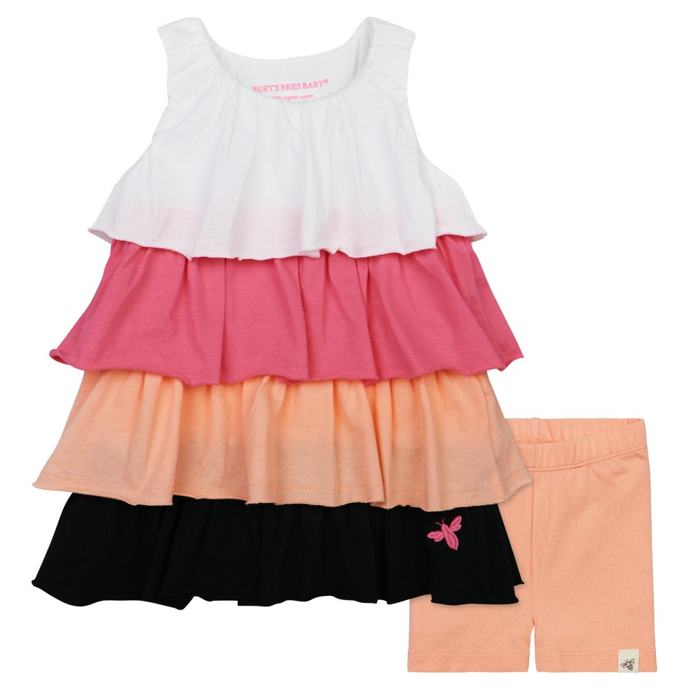 Burts Bees Baby Girls Colorblock Ruffle Dress & Bike Shorts Set - 0-3M, Size: 0-3 M, Multicolored