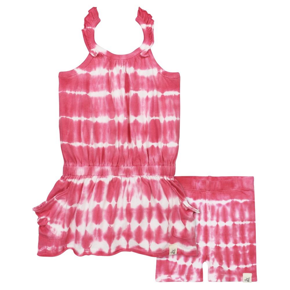 Burts Bees Baby Girls Tie Dye Slouch Pocket Dress & Bike Shorts Set - Pink 0-3M, Size: 0-3 M