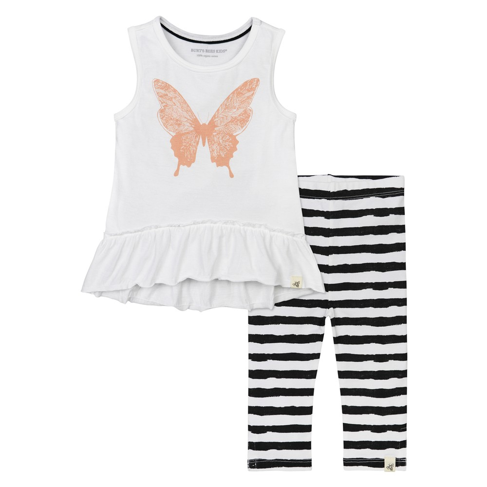 Burts Bees Baby Girls Butterfly Tunic & Painted Stripe Capri Leggings Set - White 3-6M, Size: 3-6 M