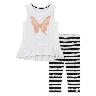 Burt's Bees Baby® Girls' Butterfly Tunic & Painted Stripe Capri Leggings Set - White 12M