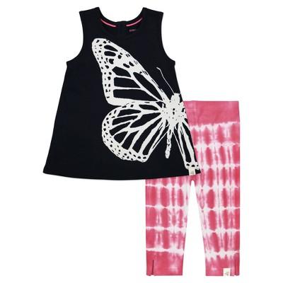 Burt's Bees Baby® Girls' Butterfly Tunic & Tie Dye Capri Leggings Set - Black 6-9M