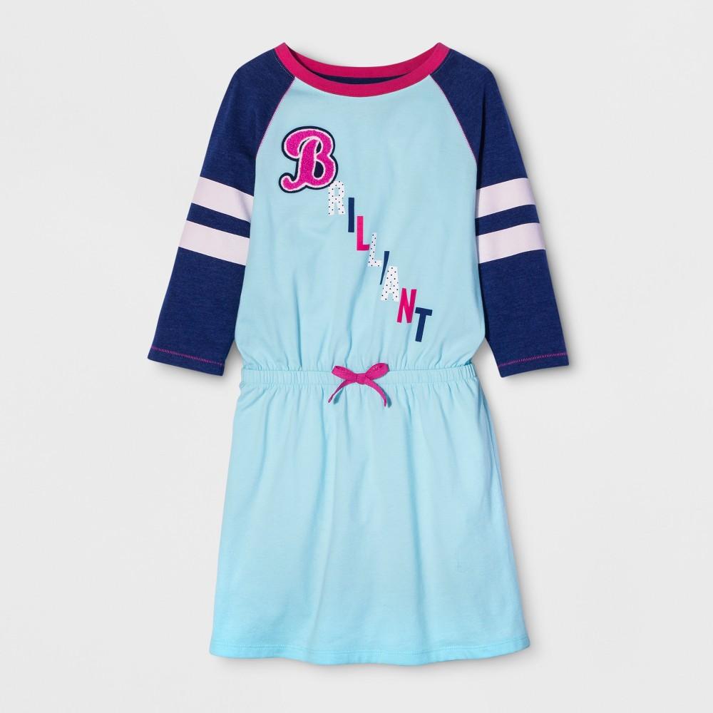 Girls Long Sleeve Brilliant Dress - Cat & Jack Turquoise Glass L, Blue