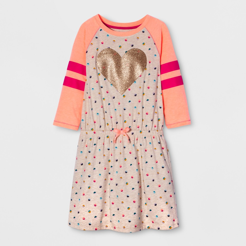 Girls Long Sleeve Heart Icon Dress - Cat & Jack XS, Multicolored