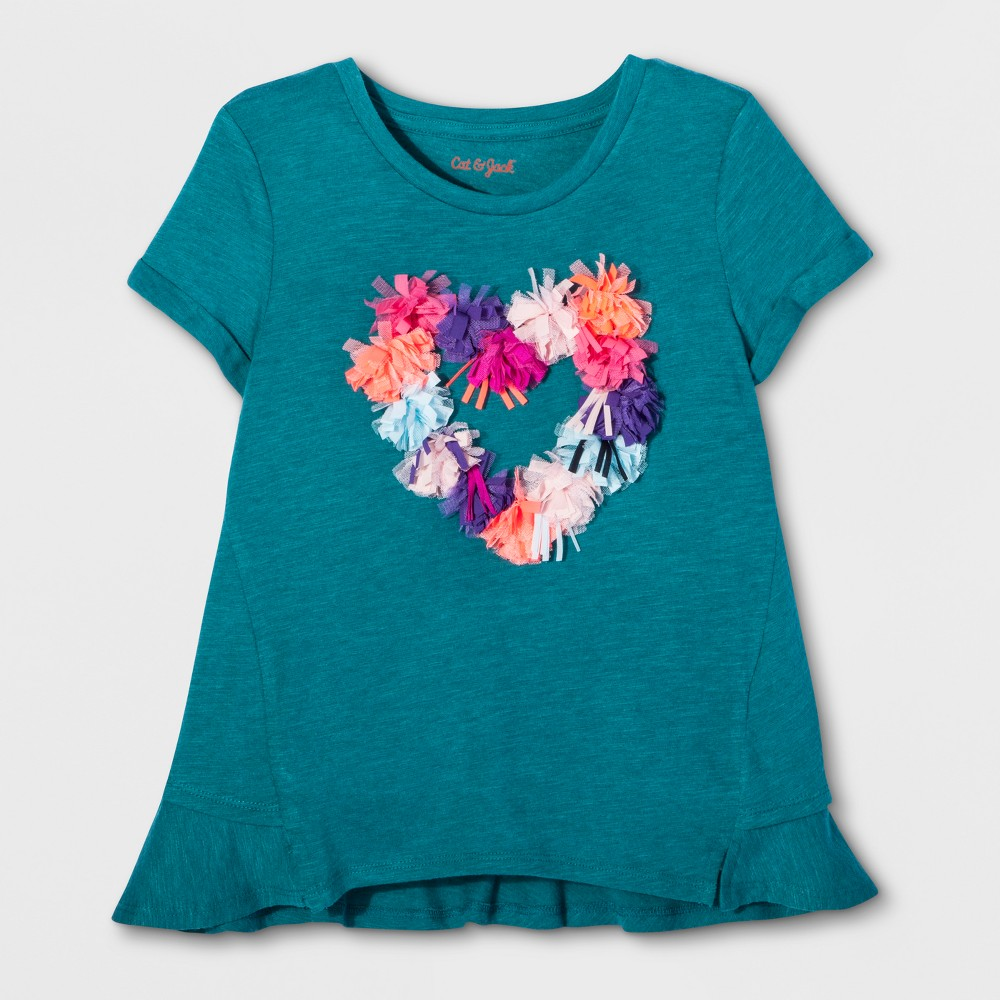 Girls 3D Heart Graphic T-Shirt - Cat & Jack Fiji Teal L, Blue