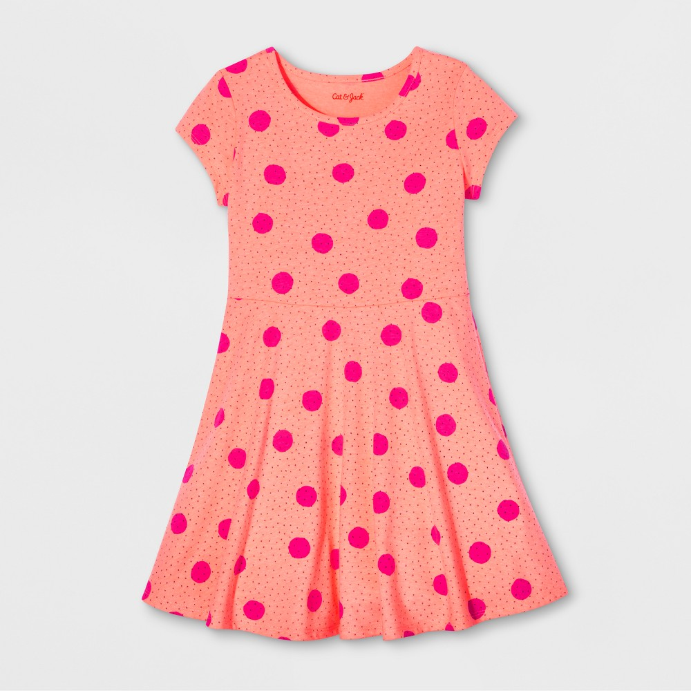 Girls Polka Dot Print Dress - Cat & Jack Moxie Peach XS, Orange