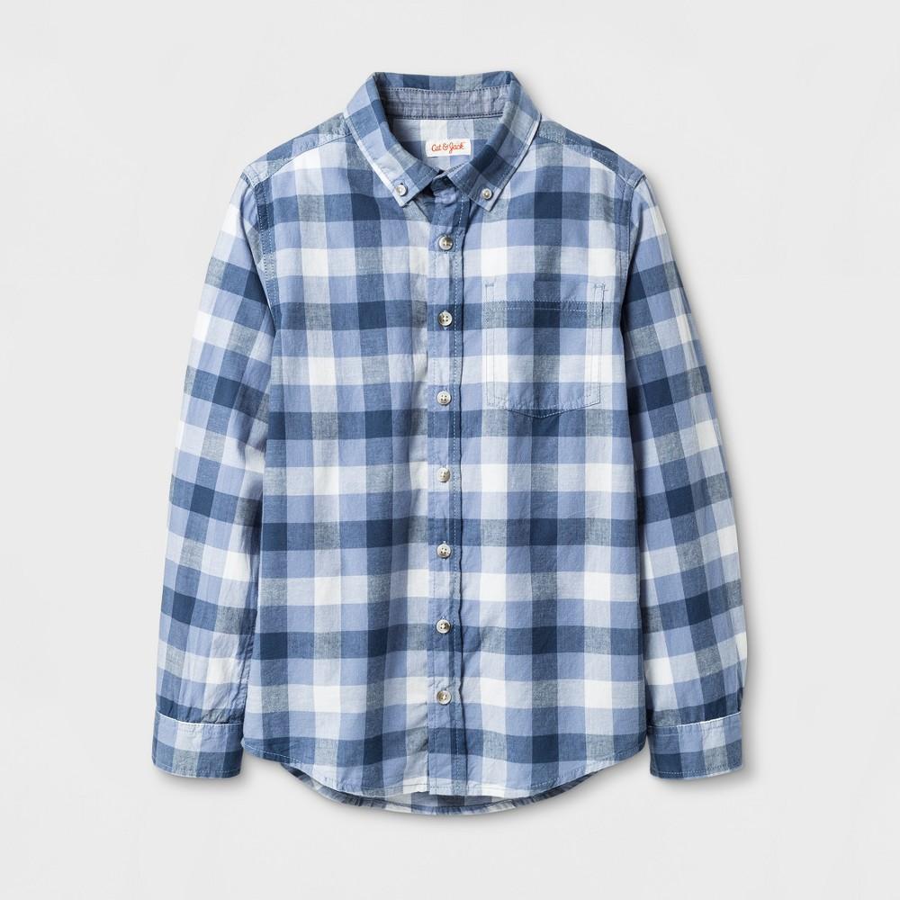 Boys Button Down Shirt - Cat & Jack Blue Check L