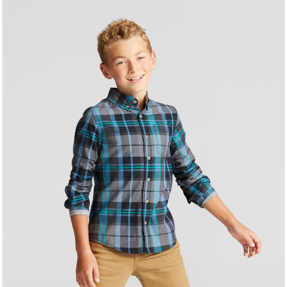 Boys Button Down Shirt - Cat & Jack Black Xxl Husky, Size: XL Husky