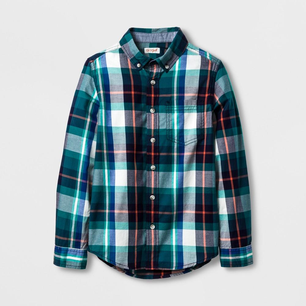 Boys Button Down Shirt - Cat & Jack Green L Husky
