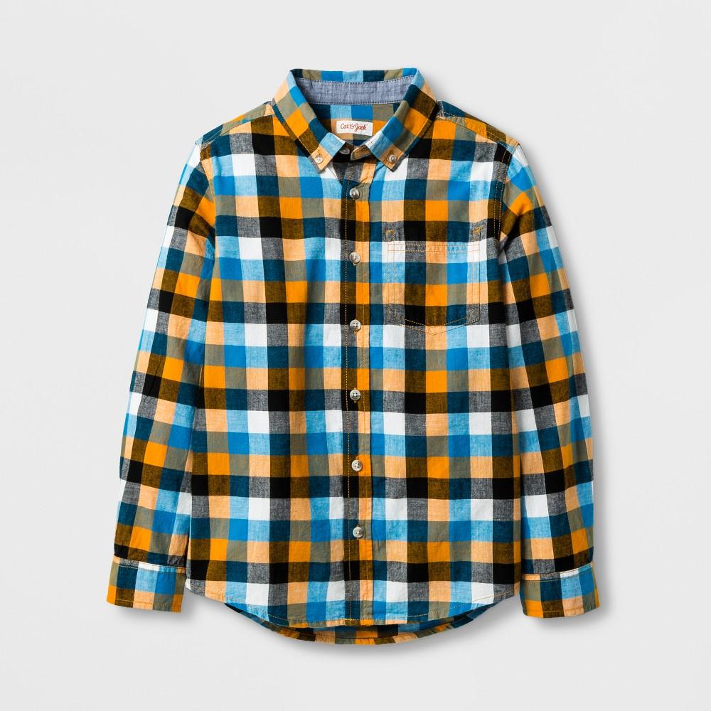 Boys' Button Down Shirt - Cat & Jack Orange XL Husky, Size: M Husky