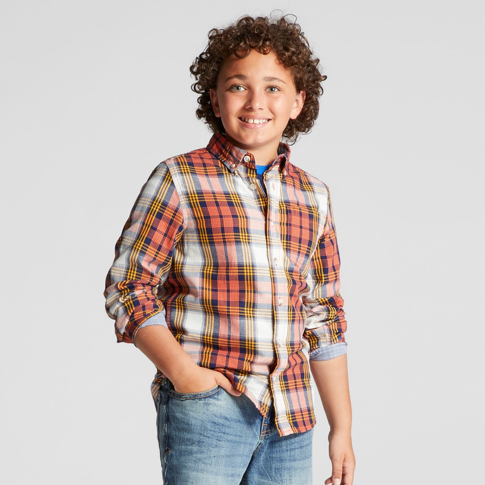 Boys Button Down Shirt - Cat & Jack Exciting Orange S