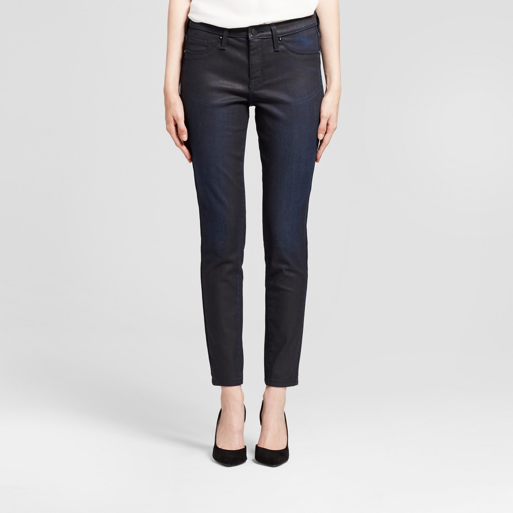 Womens Jeans Coated Mid Rise Jeggings - Mossimo Black/Blue 12