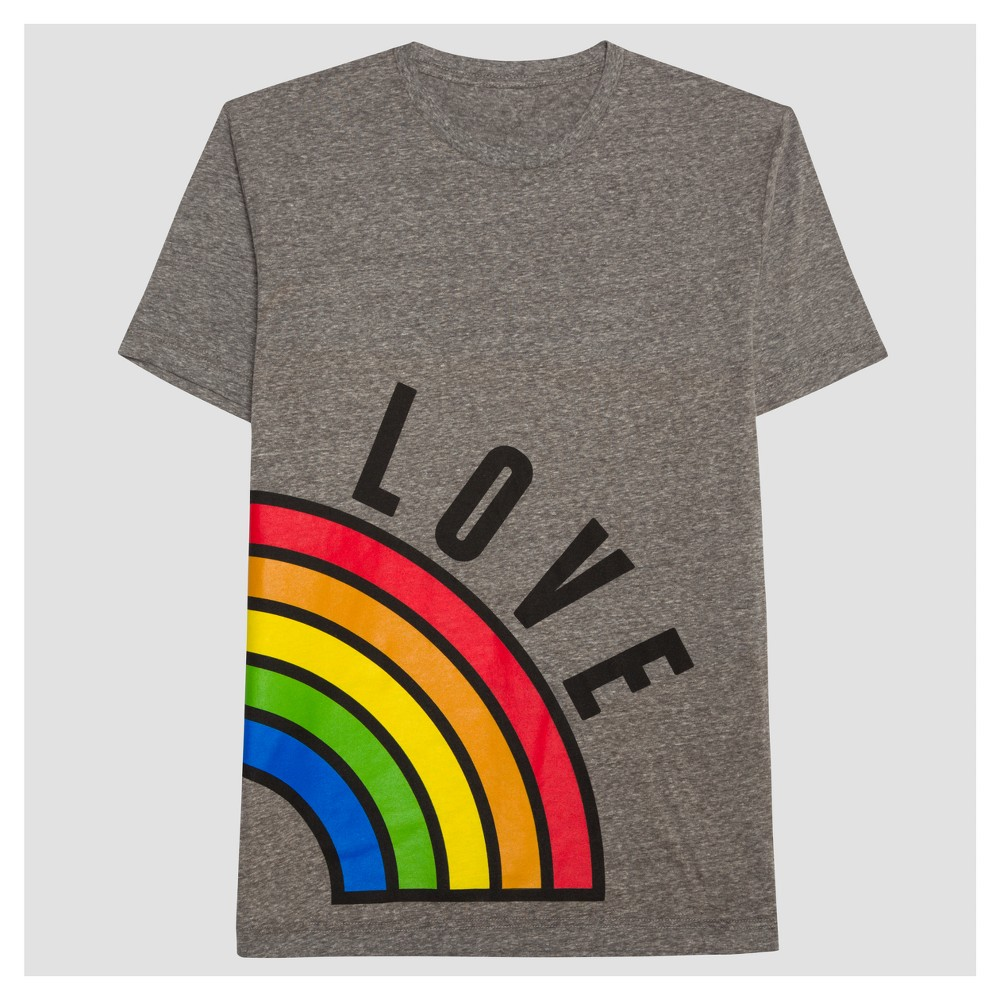 Pride Adult Couples Left Rainbow Love T-Shirt - Mid Gray 4XLT, Mens, Size: 4XL Tall