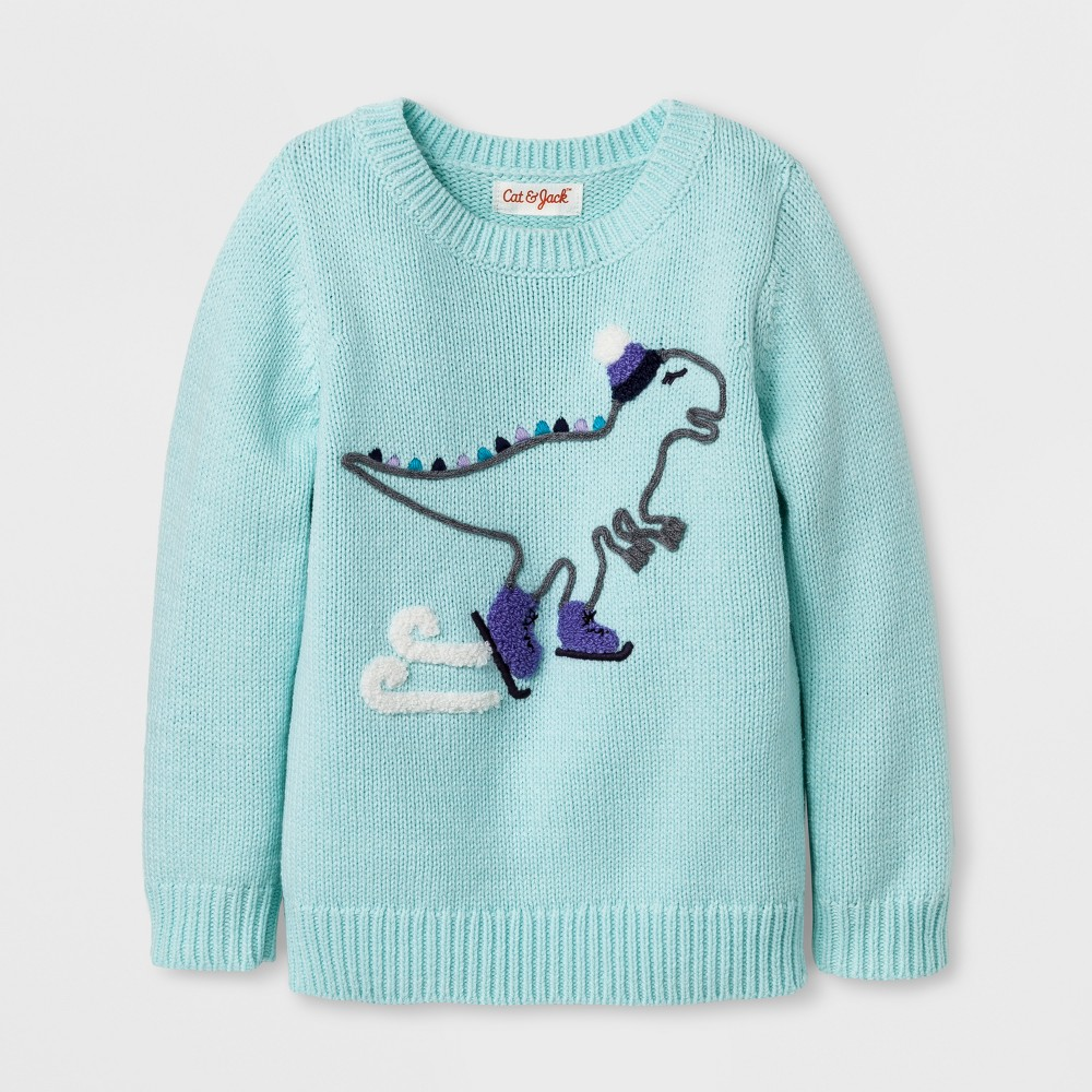 Toddler Girls Crew Neck Dino Pullover - Cat & Jack Bleached Aqua 12M, Size: 12 M, Green
