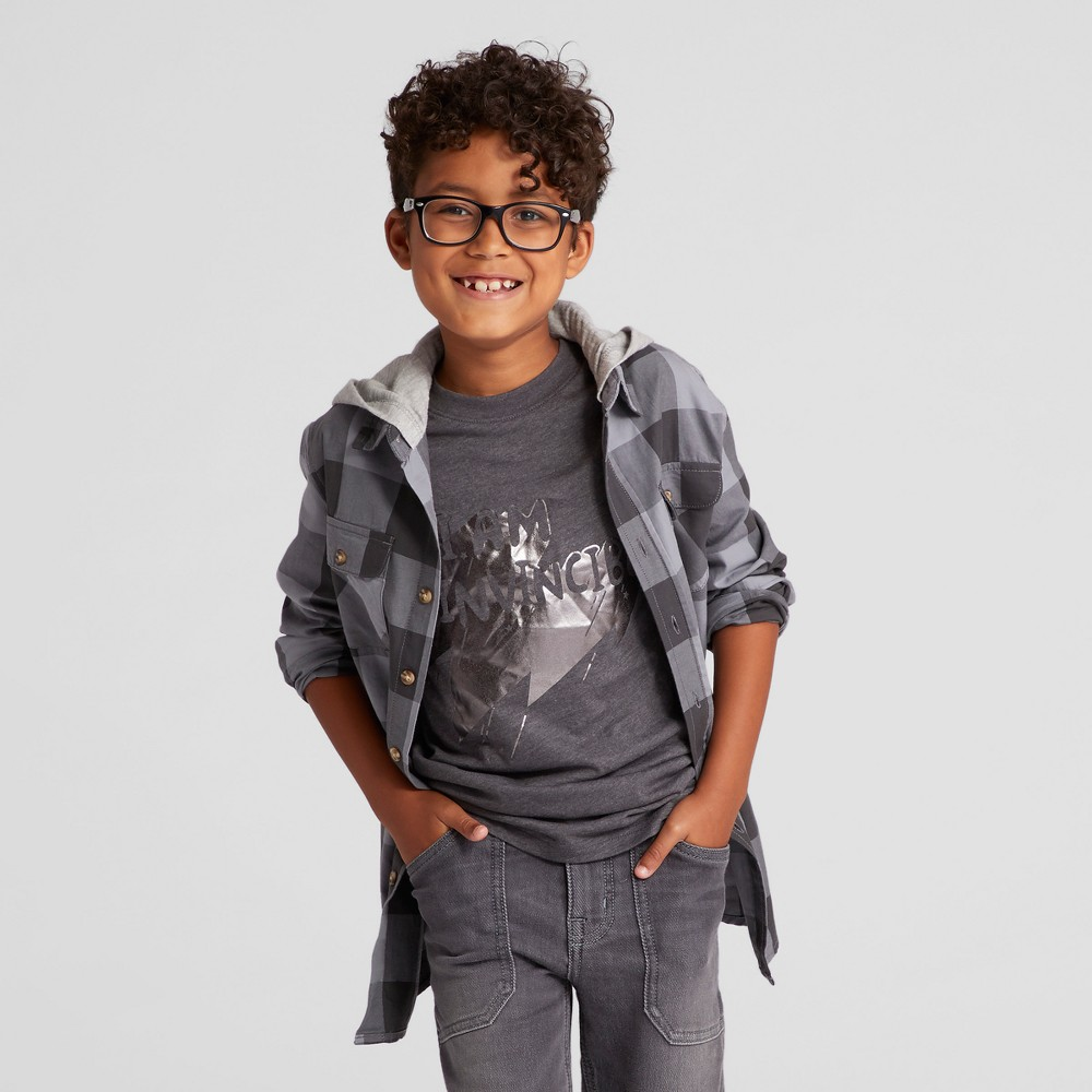 Boys Button Down Shirt - Cat & Jack Charcoal XL Husky, Size: M Husky, Gray