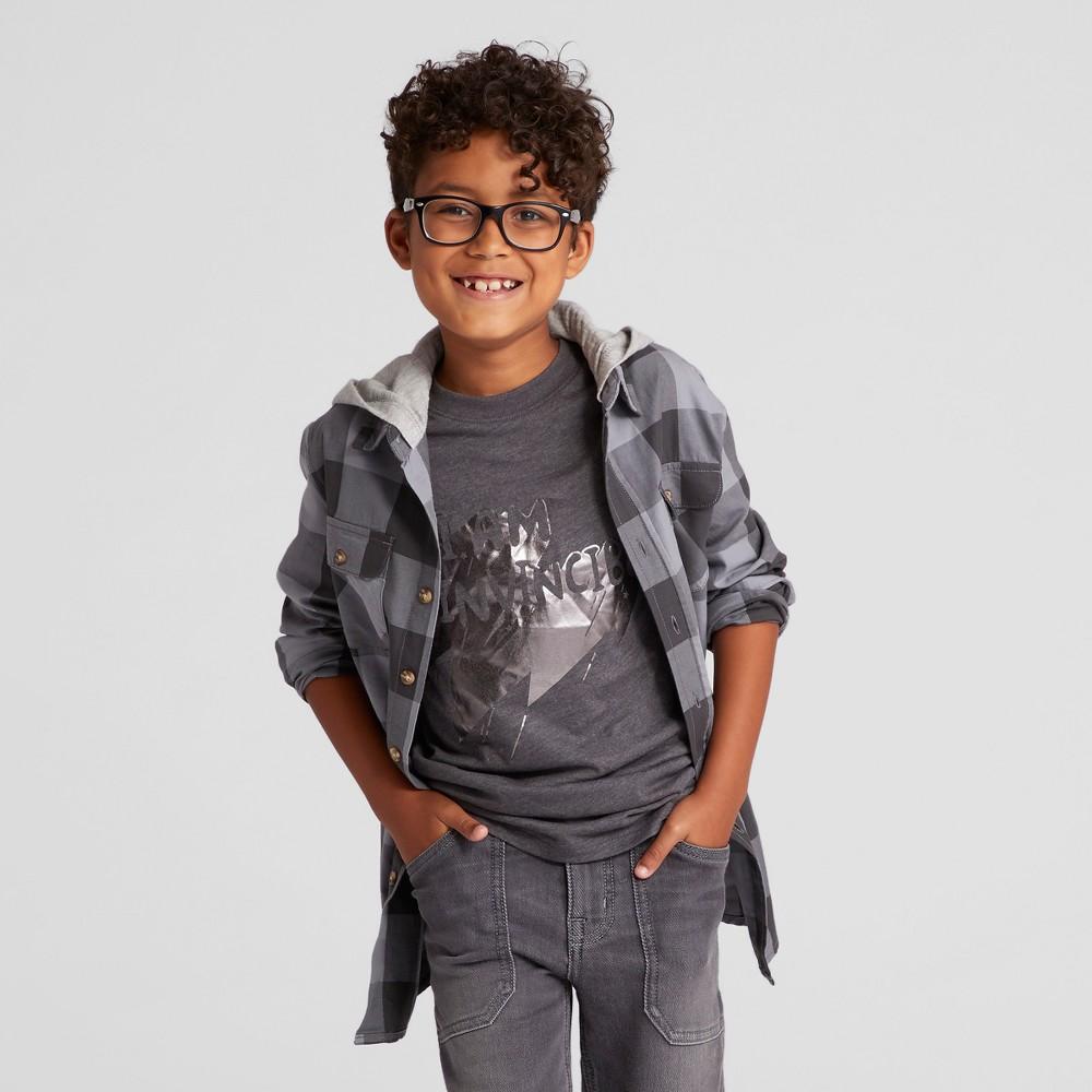 Boys Button Down Shirt - Cat & Jack Charcoal Xxl Husky, Size: XL Husky, Gray