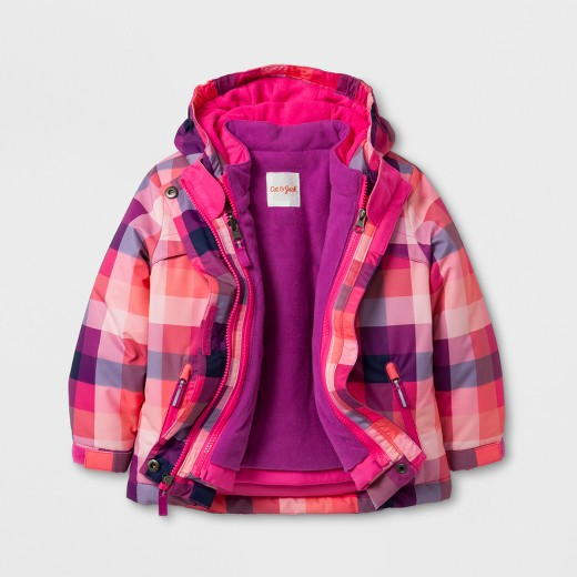 Toddler Girls' 3-in-1 Jacket Planet Plaid - Cat & Jack™ Pink 2T ...