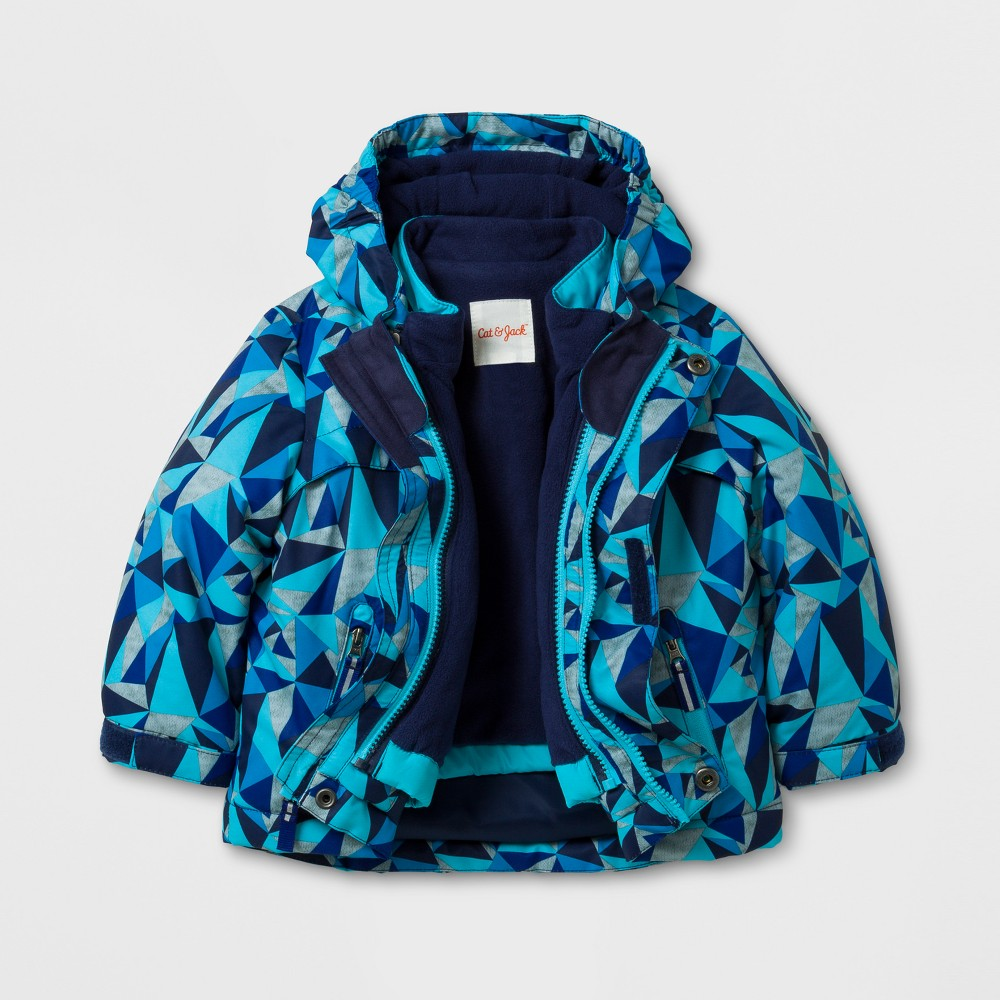 Toddler Boys 3-in-1 Jacket - Cat & Jack Blue Print 12M