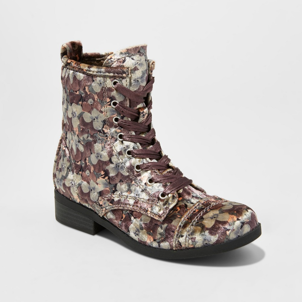 Girls Stevies #rina Lace Up Velvet Ankle Fashion Boots - Multi Colored 1, Multicolored
