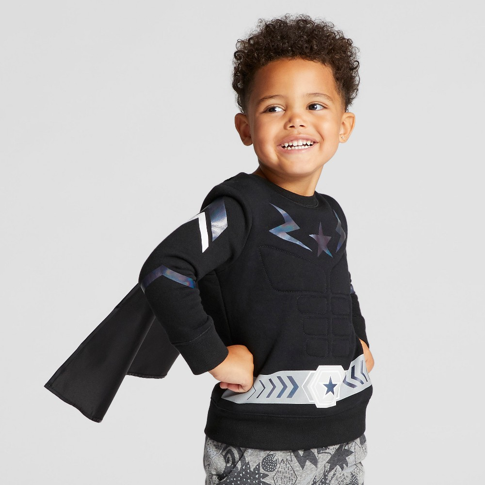 Toddler Boys Muscle Hero Pullover Sweatshirt - Cat & Jack Black 4T