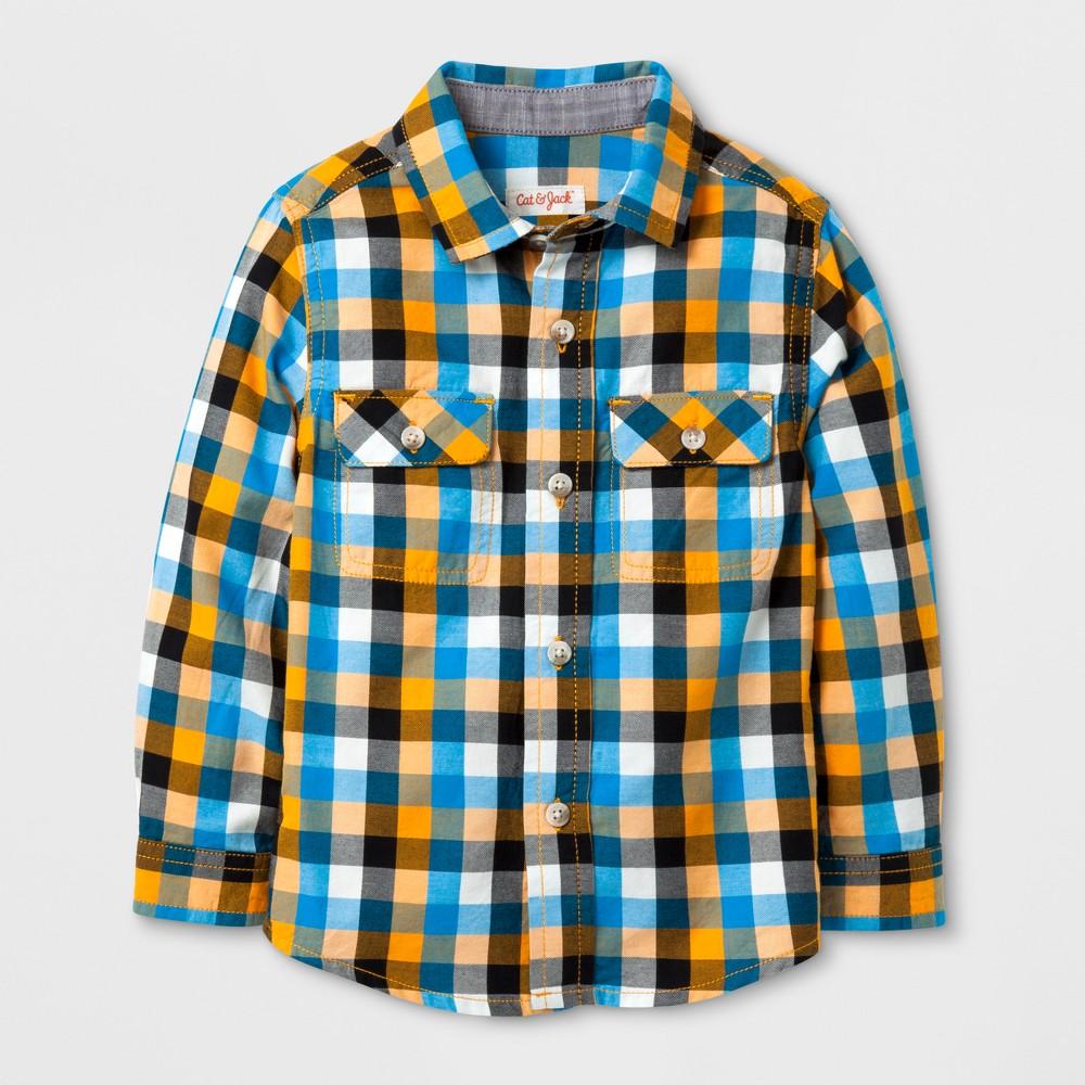 Toddler Boys Button Down Shirt - Cat & Jack Blue/Yellow 2T, Orange