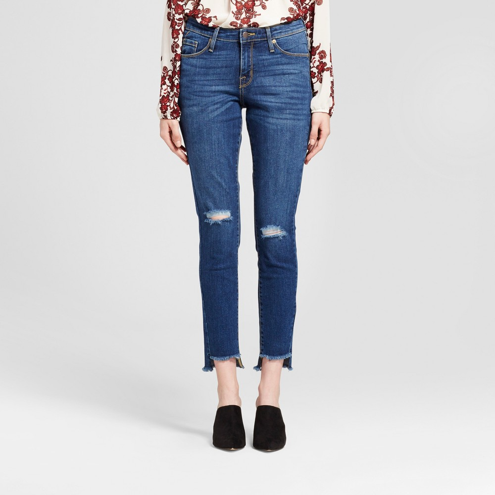 Womens Jeans Mid Rise Skinny High Low Hem, Knee Slits - Mossimo Medium Wash 4, Blue