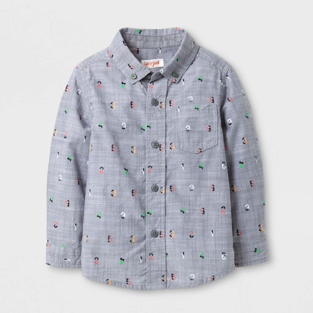 Toddler Boys Numbers Print Button Down Shirt - Cat & Jack Gray 4T
