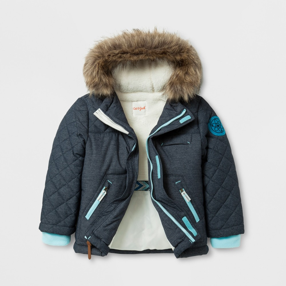 Toddler Boys Parka with Sherpa Lining - Cat & Jack Navy 5T, Blue