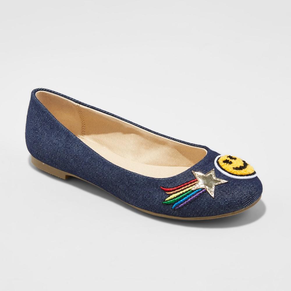 Girls Stevies #adorbs Patch Ballet Flats - Blue 3