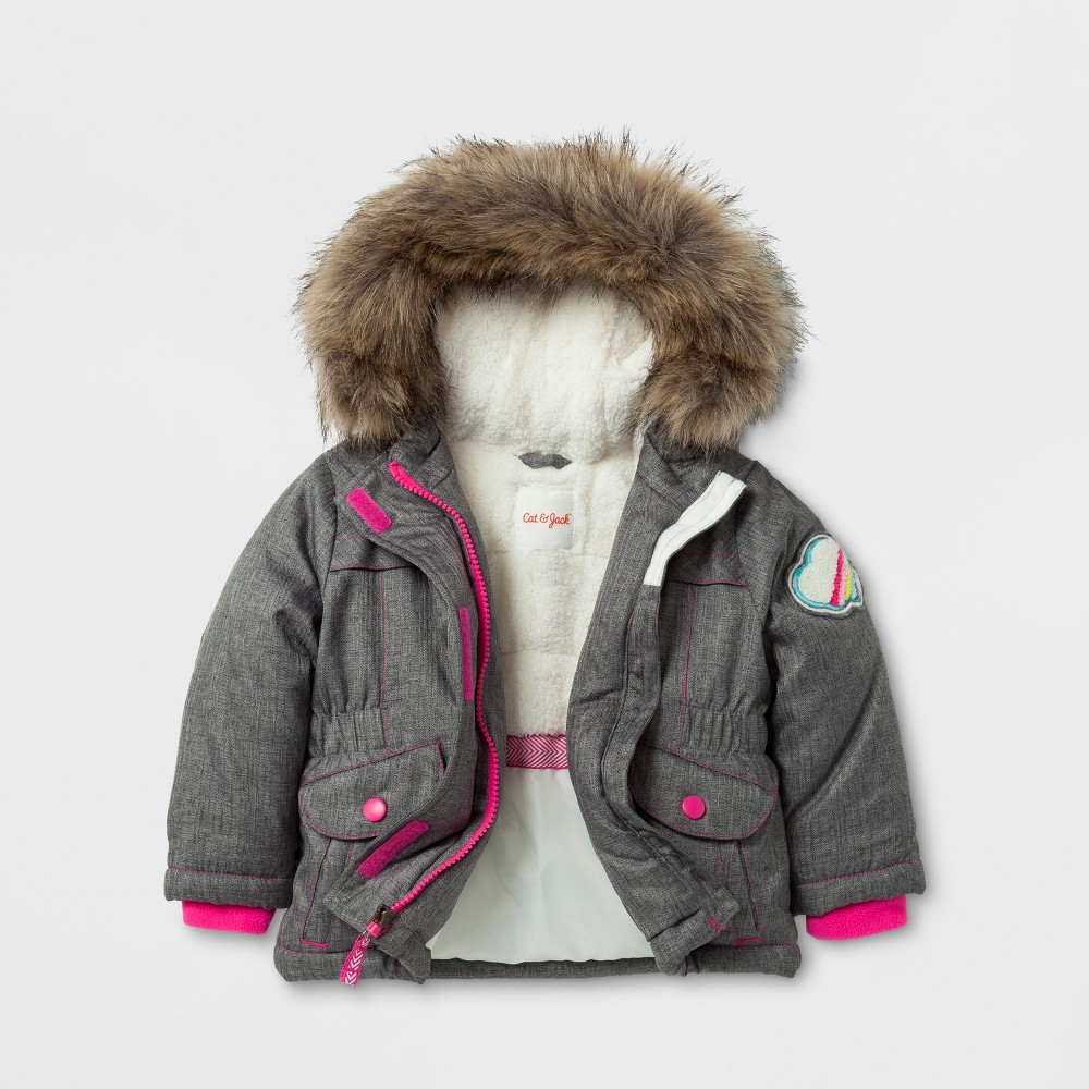 Toddler Girls Parka Jacket with Sherpa Lining - Cat & Jack Gray 12M