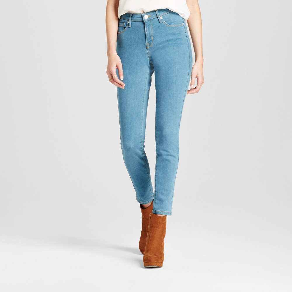 Womens Jeans Mid Rise Skinny - Mossimo Light Wash 00 Long, Blue