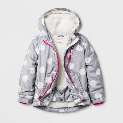 Toddler Girls' Windbreaker with Sherpa Lining - Cat & Jack™ Gray 4T